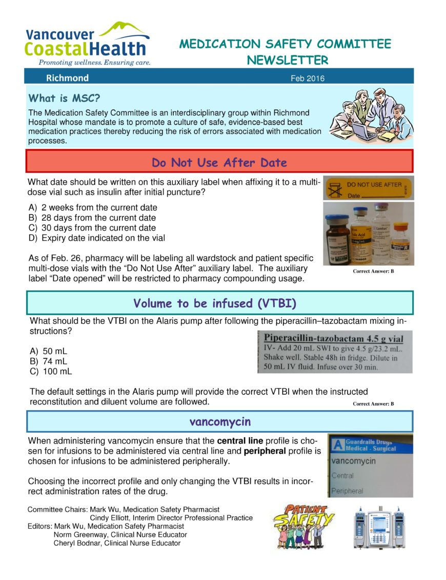 Medication-Safety-Newsletter-Feb-2016-e1461776394822 Safety Committee Newsletter Template on minutes taking, arch bright, meeting schedule, meeting free, agenda form, accident investigation, commitment forms, meeting notes,