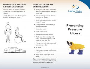 Preventing Pressure Ulcers pamphlet for patients and families (front)