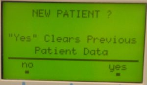 """Clinician Prompt """"New Patient?"""" Software Version 4.54"""